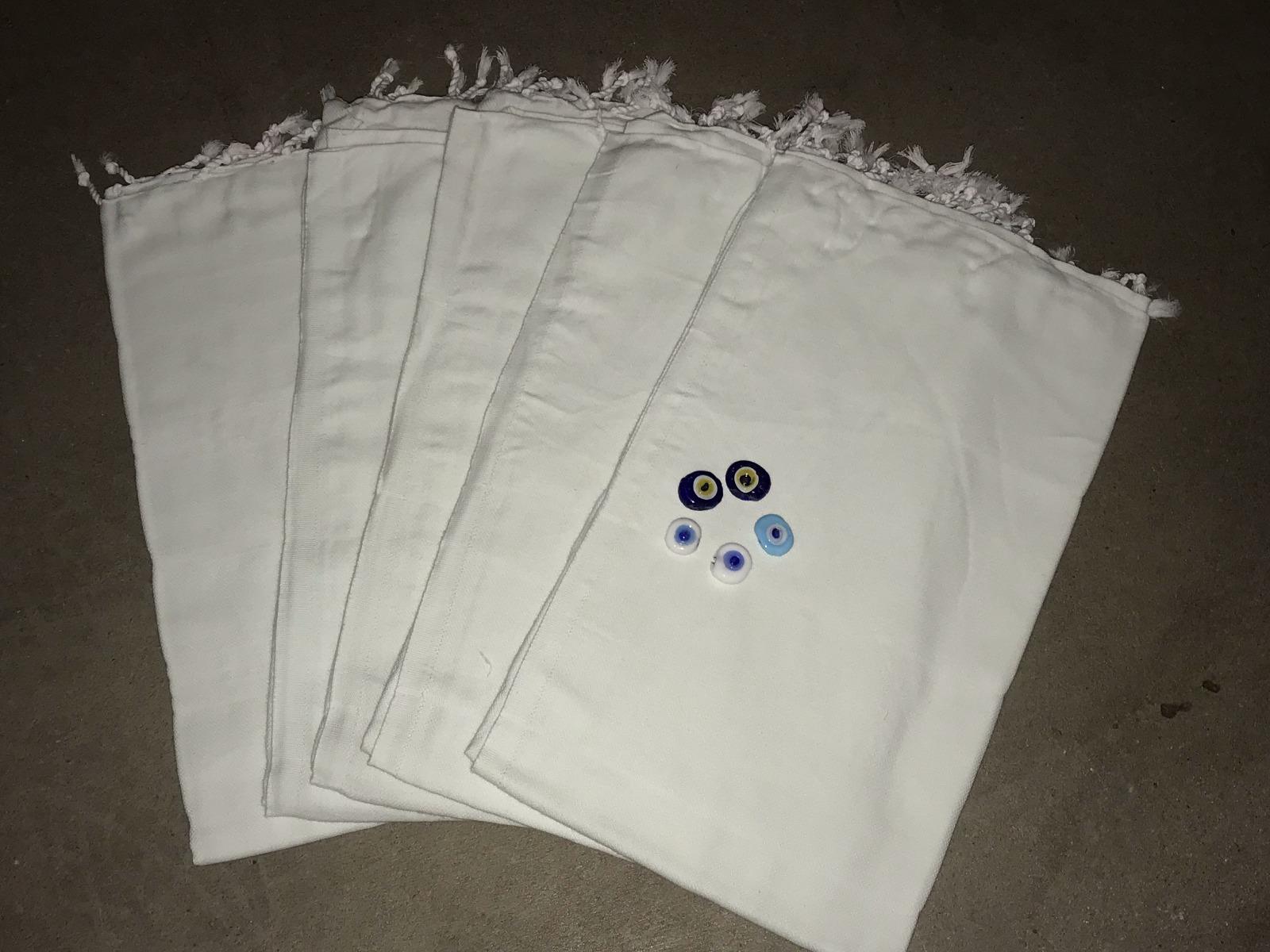 SINTERKLAAS aanbieding: 5 stuks lichtgroene hamamdoek,100% katoen 100cm x 180cm  Met 5x blauw oog