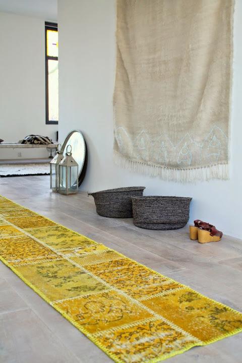 Okergeel patchwork loper vloerkleed  uit Turkije 400cm x 60cm, no 699