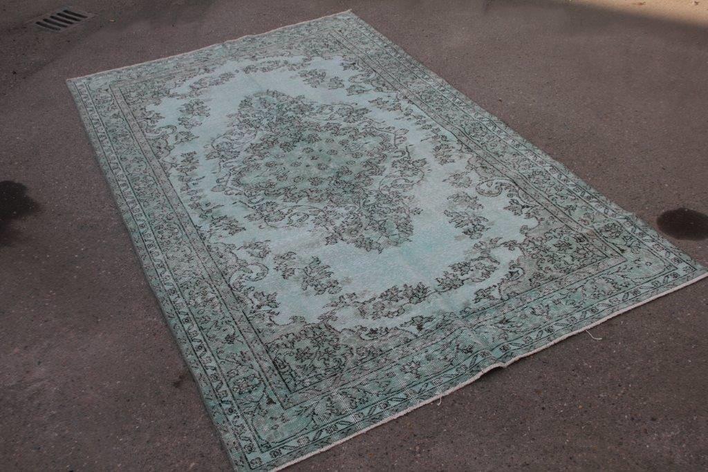 Mintgroen vintage vloerkleed 291cm x 177cm  (nr4733)