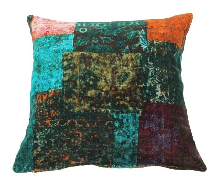 Kussen fluweel multicolor (50cm x 50cm) incl binnenkussen (nr 1105)