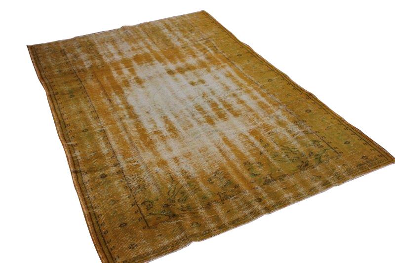 Okergeel vintage vloerkleed 277cm x 188cm  (nr2100)
