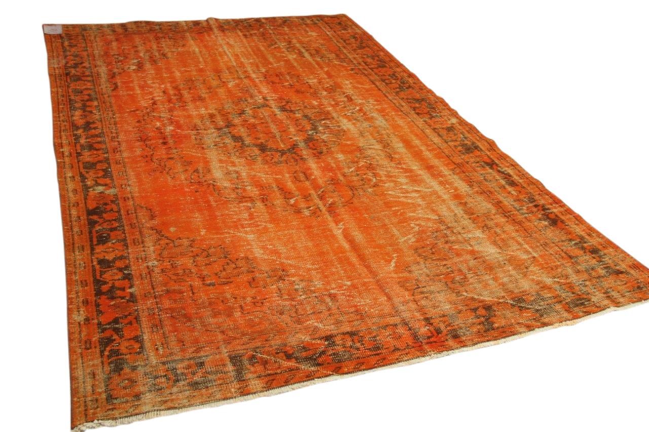Oranje vloerkleed vintage 309cm x 200cm nr 3324