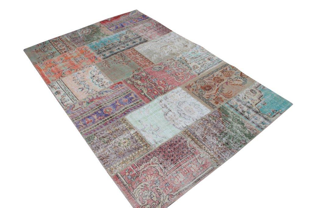 Vintage patchwork vloerkleed 575 (303 cm x 201 cm) gemaakt van recoloured vloerkleden