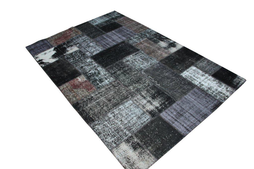 Vintage patchwork vloerkleed 812 (300cm x 200cm) gemaakt van recoloured vloerkleden