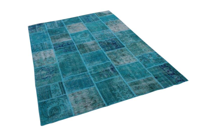 Blauw vintage patchwork tapijt  300cm x 200cm (nr7295)