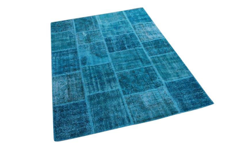 blauw patchwork vloerkleed 237cm x 169cm 5500