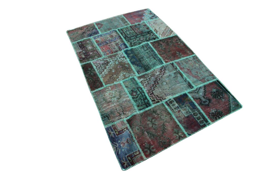 Groen patchwork vintage vloerkleed nr 1107D     (233cm x 150cm) VERKOCHT HAPPY PANDA