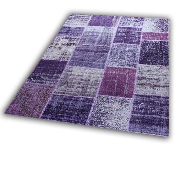 Paars patchwork tapijt 167D (242cm x 170cm)