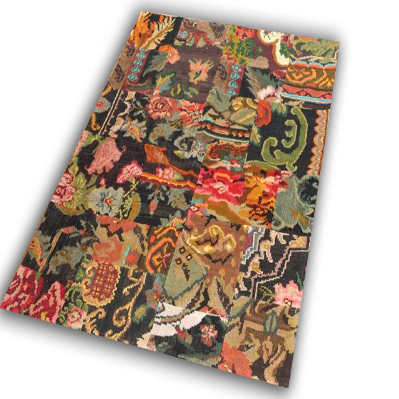 Kelim patchwork gemaakt van oude rozenkelims  171D (126cm x 178cm)