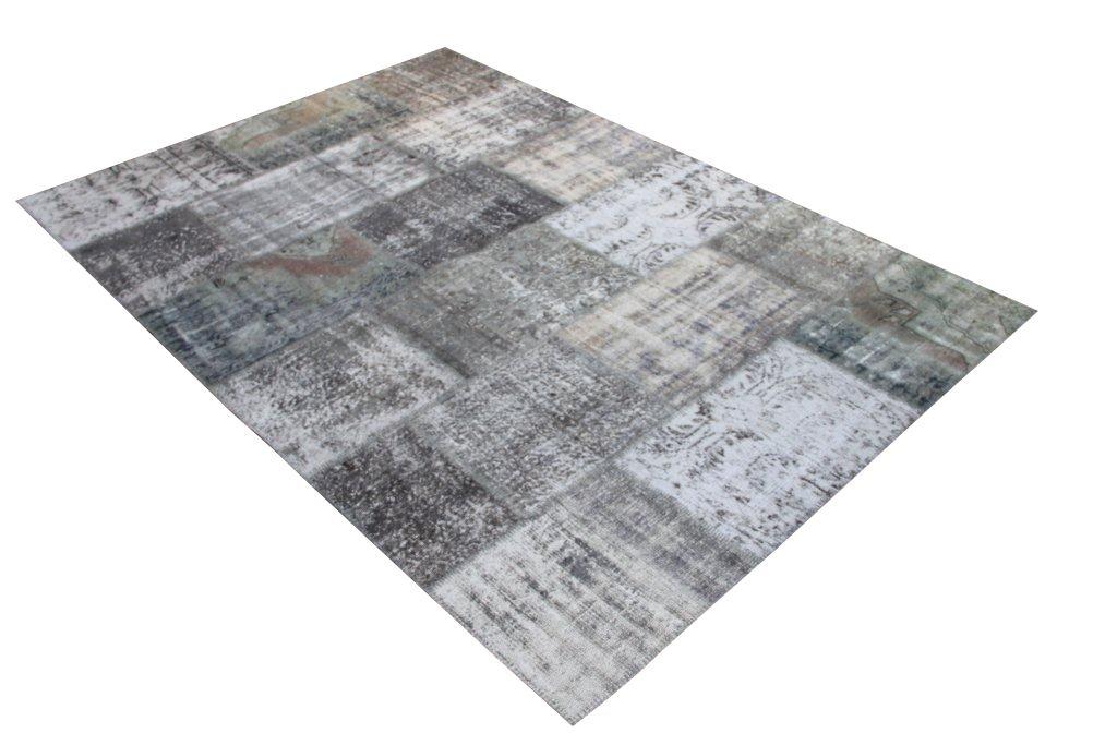 Grijs  patchwork vloerkleed 599D (301 cm x 200 cm) gemaakt van recoloured vloerkleden