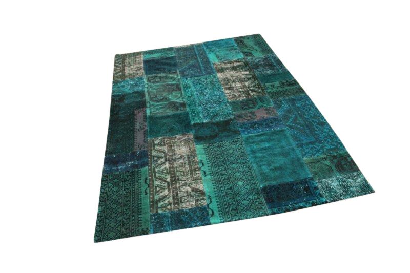 Groen patchwork kleed  280cm x 190cm, no 51267 gemaakt uit oude perzen.