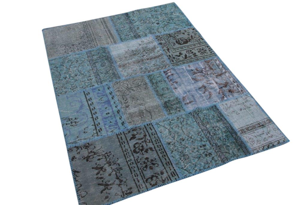 Blauw patchwork vloerkleed 200cm x 140cm (nr7144)
