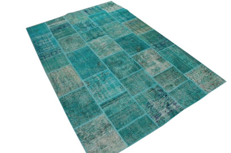 Patchwork vloerkleed, blauw, 300cm x 198cm