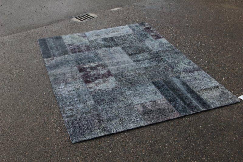 Vintage patchwork antraciet vloerkleed 240cm x 170cm (nr4999)