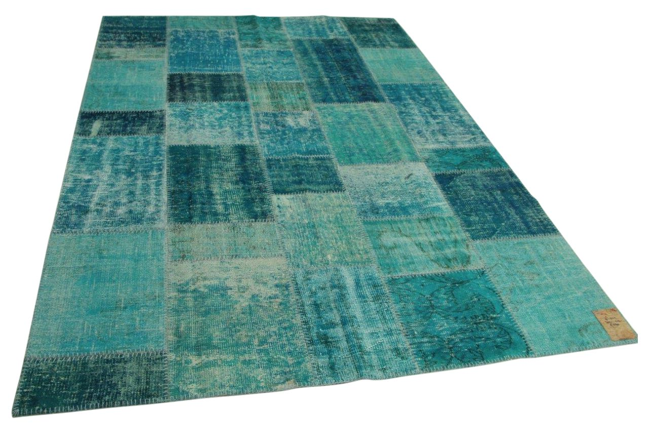 Patchwork vloerkleed aquablauw 302cm x 212cm nr61342
