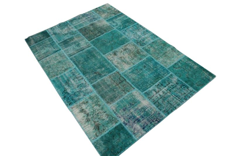 Patchwork vloerkleed blauw 238cm x 167cm 5484