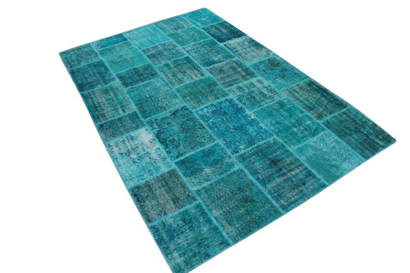 Blauw vintage patchwork vloerkleed 299cm x 198cm (nr7288)