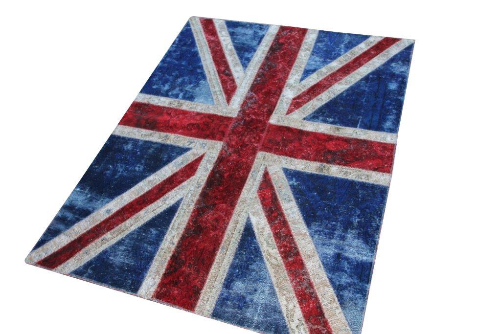 Patchwork vloerkleed engelse vlag no 50400  202cm x 153cm.  Gemaakt van oude kleden, incl onderkleed van katoen.