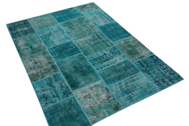 Patchwork vloerkleed, blauw, 235cm x 168cm