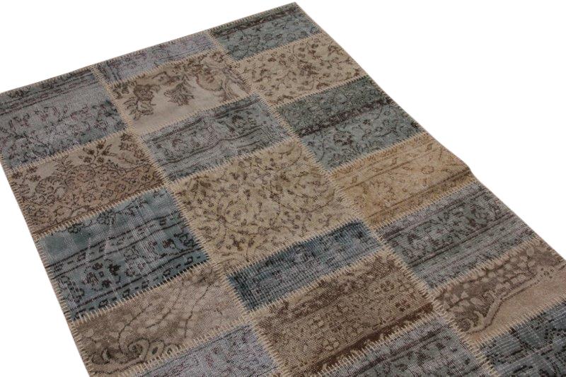 Patchwork vloerkleed, bruin, 190cm x 130cm