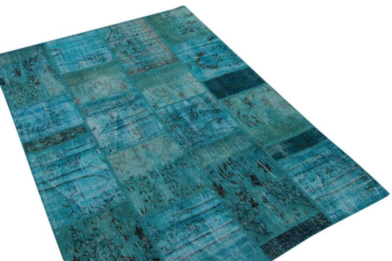 Vintage blauw patchwork tapijt  240cm x 170cm (nr7438)