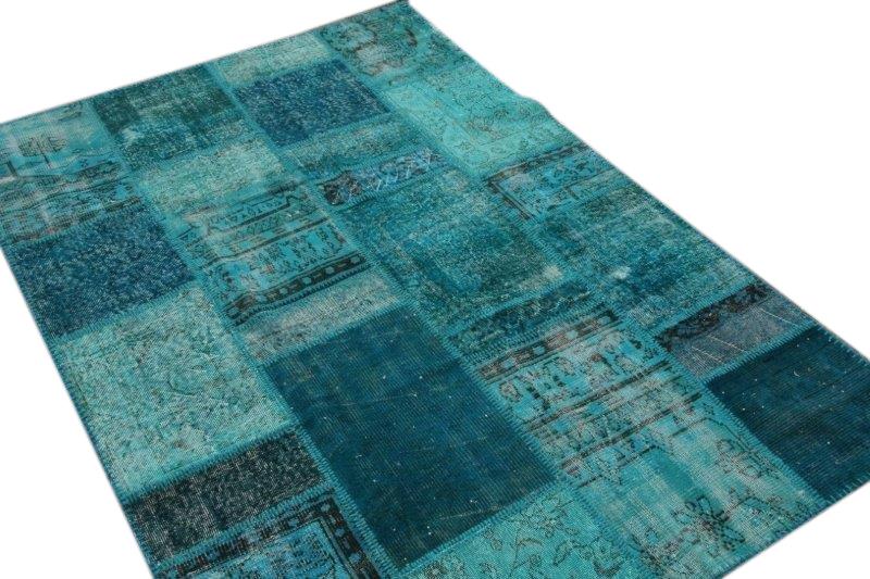 Blauw patchwork vloerkleed 240cm x 170cm 7440