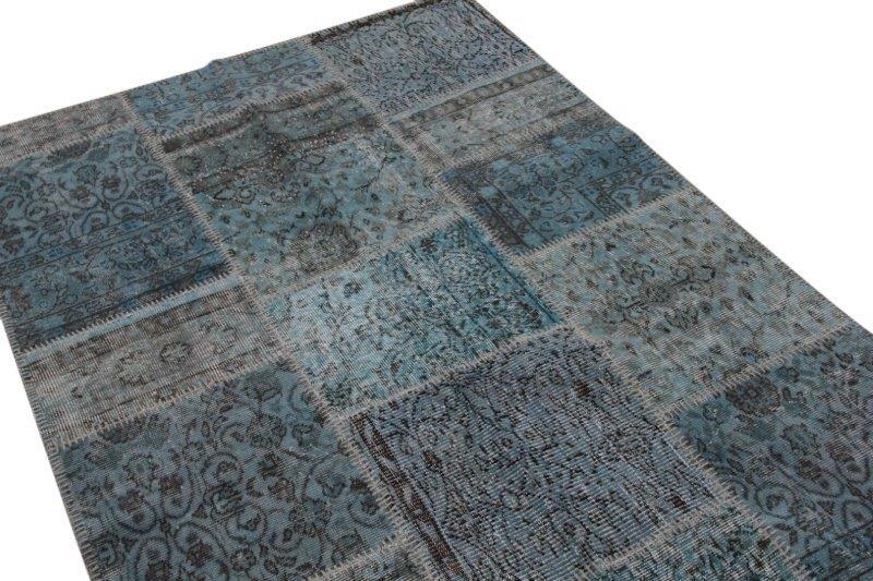 Patchwork vloerkleed, blauw, 243cm x 139cm