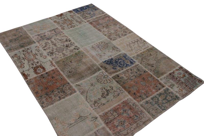 Vintage naturel patchwork tapijt  240cm x 175cm (nr7473)