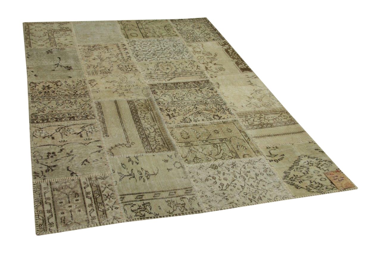 Beige patchwork vloerkleed
