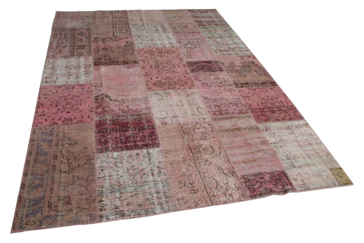 patchwork vloerkleed roze