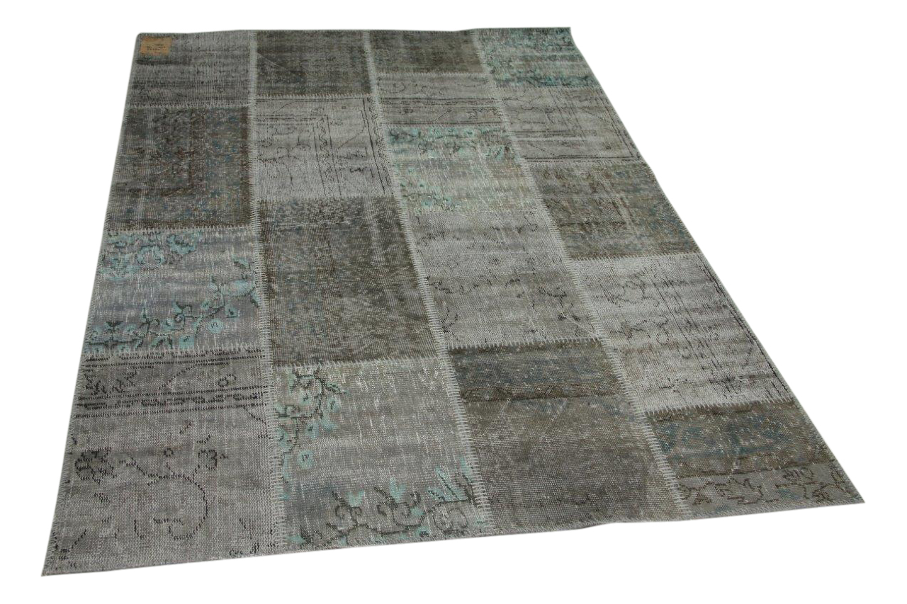 Patchwork vloerkleed grijs met blauw