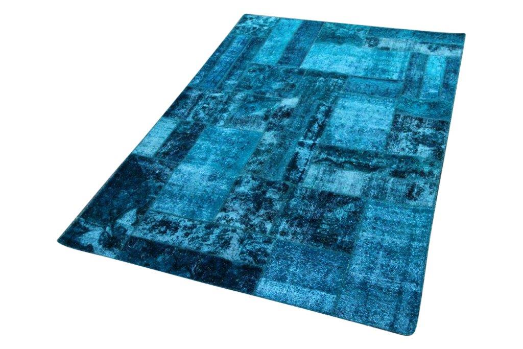 Patchwork vloerkleed, blauw, 240cm x 168cm