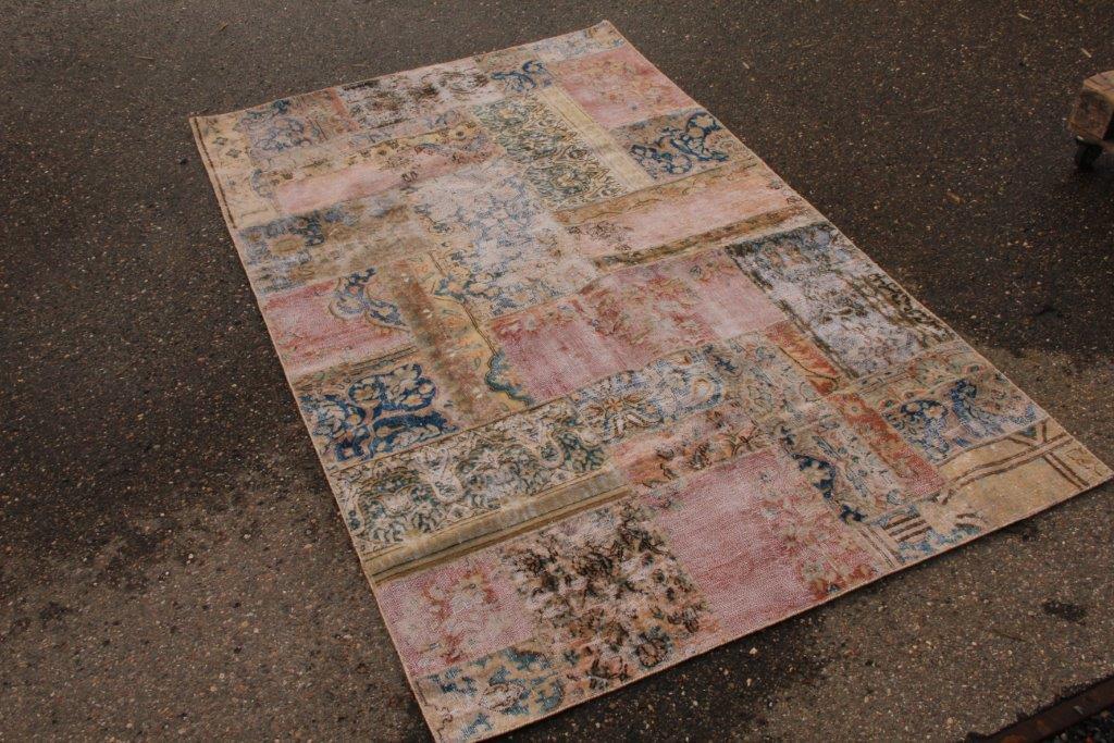 Vintage patchwork vloerkleed 249cm x 154cm (nr54229)