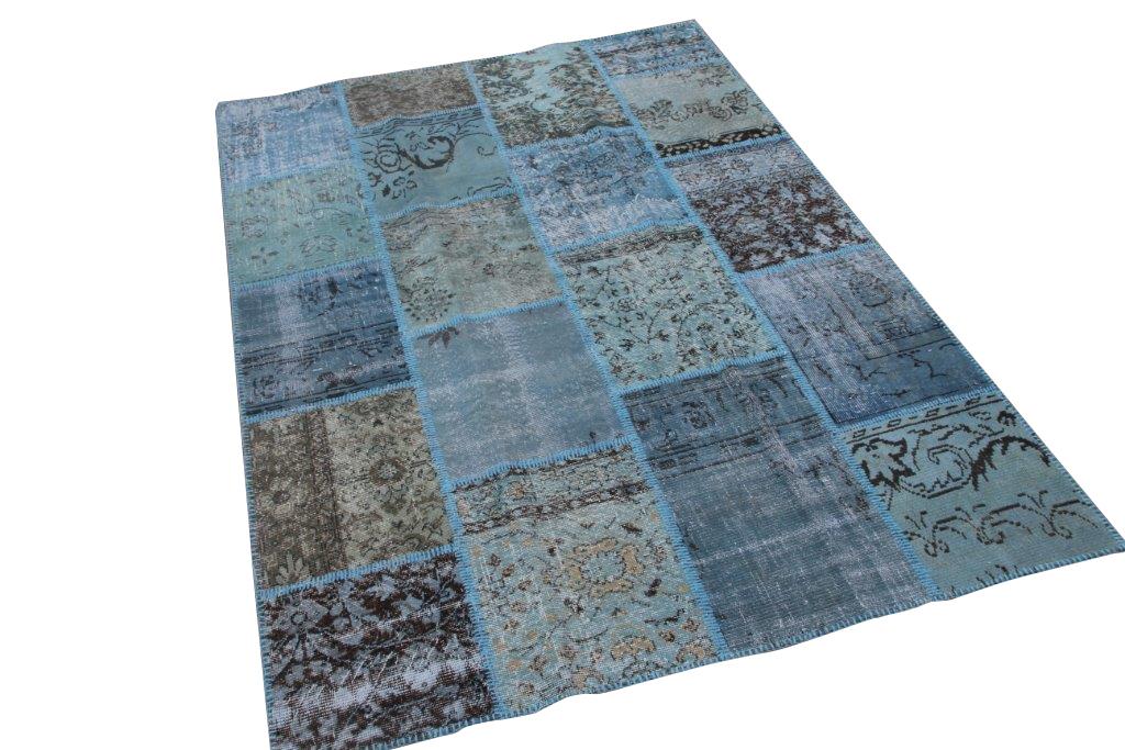 Patchwork vloerkleed, blauw, 240cm x 170cm