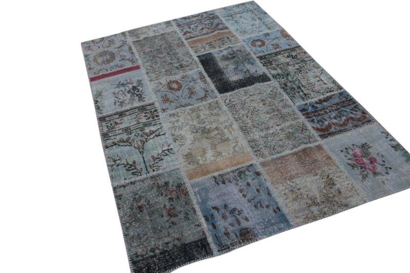 Blauw grijs vintage patchwork vloerkleed 240cm x 170cm (nr7240)