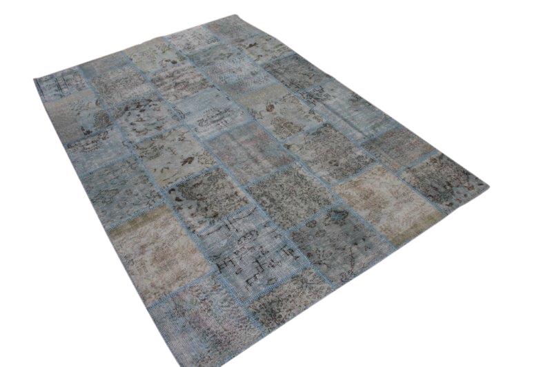 Vintage grijs patchwork vloerkleed 296cm x 198cm (nr7289)