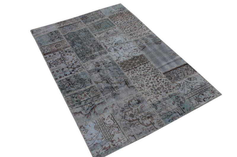 Vintage blauw grijs patchwork vloerkleed 205cm x 137cm (nr7294)
