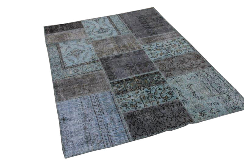Patchwork vloerkleed, blauw grijs, 238cm x 137cm