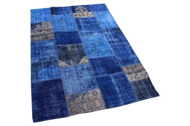 Blauw patchwork vloerkleed 240cm x 170cm 7634