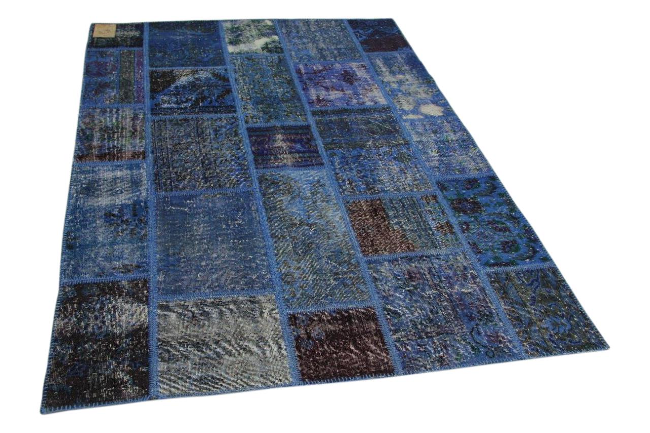 Patchwork vloerkleed blauw 230cm x 164cm nr23234