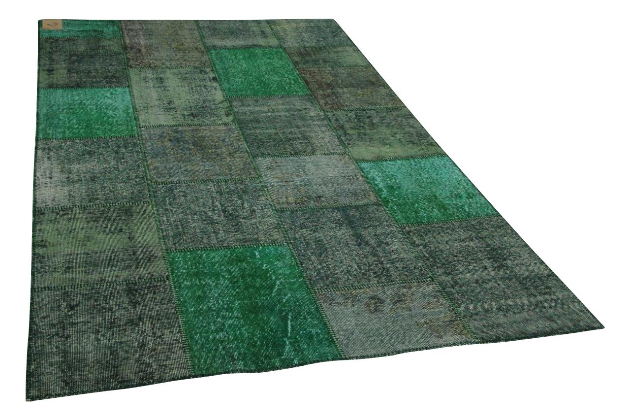 Patchwork vloerkleed groen 300cm x 180cm nr23220