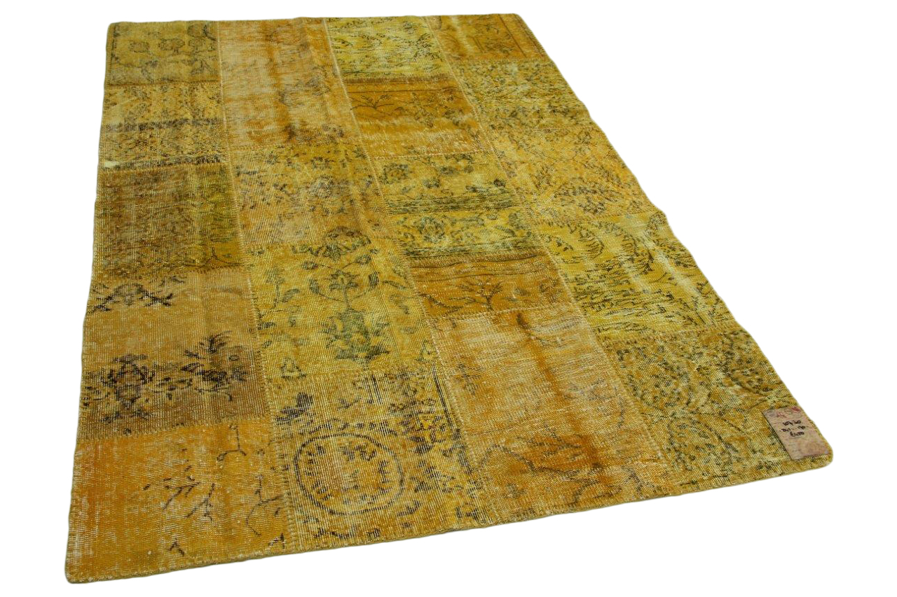 patchwork vloerkleed okergeel