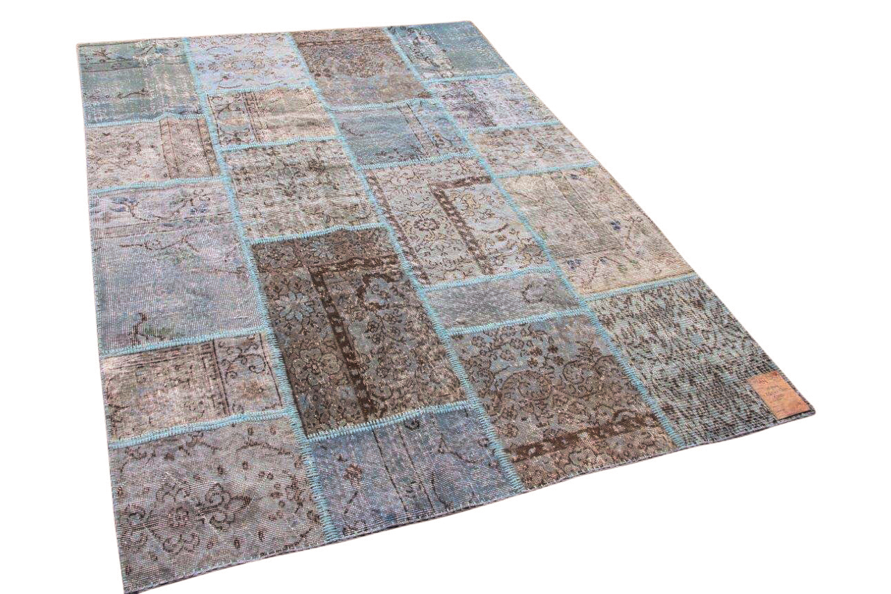 patchwork vloerkleed blauw 241cm x 170cm