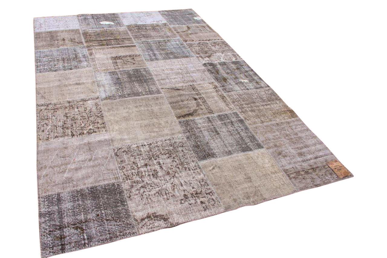 patchwork vloerkleed grijs 300cm x 200cm