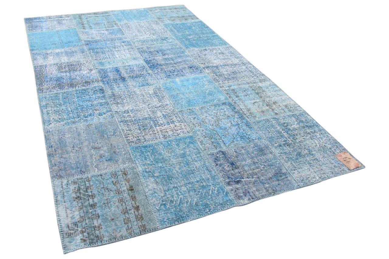 Patchwork vloerkleed blauw 19950 300cm x 190cm