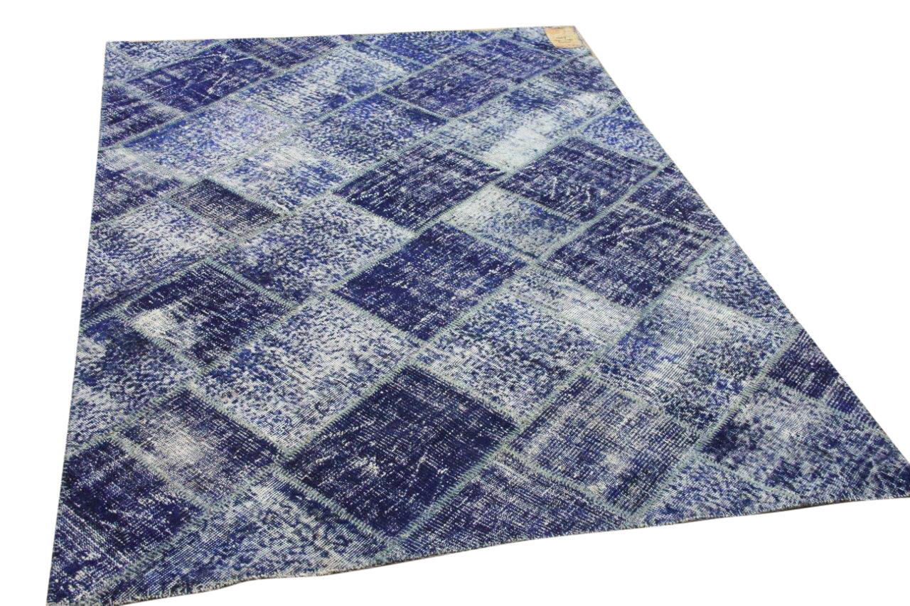 patchwork vloerkleed blauw 35479