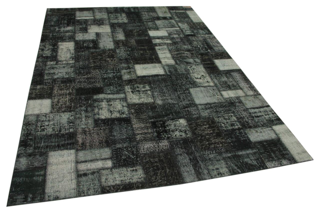 Patchwork vloerkleed antraciet