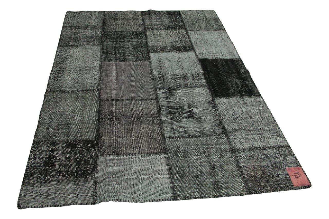 Zwart patchwork vloerkleed 242cm x 171cm nr10205