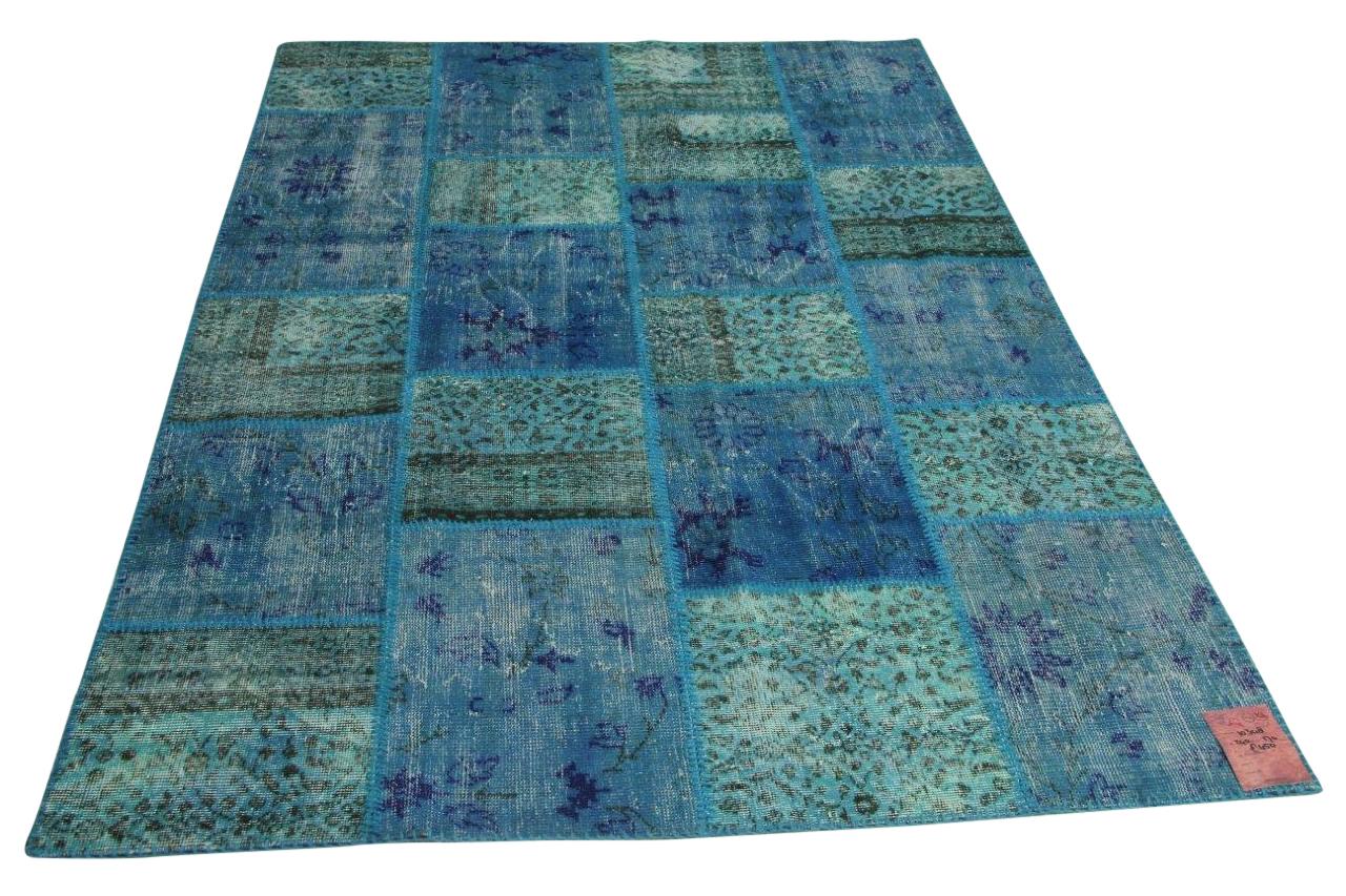 Blauw patchwork vloerkleed 240cm x 170cm nr10348