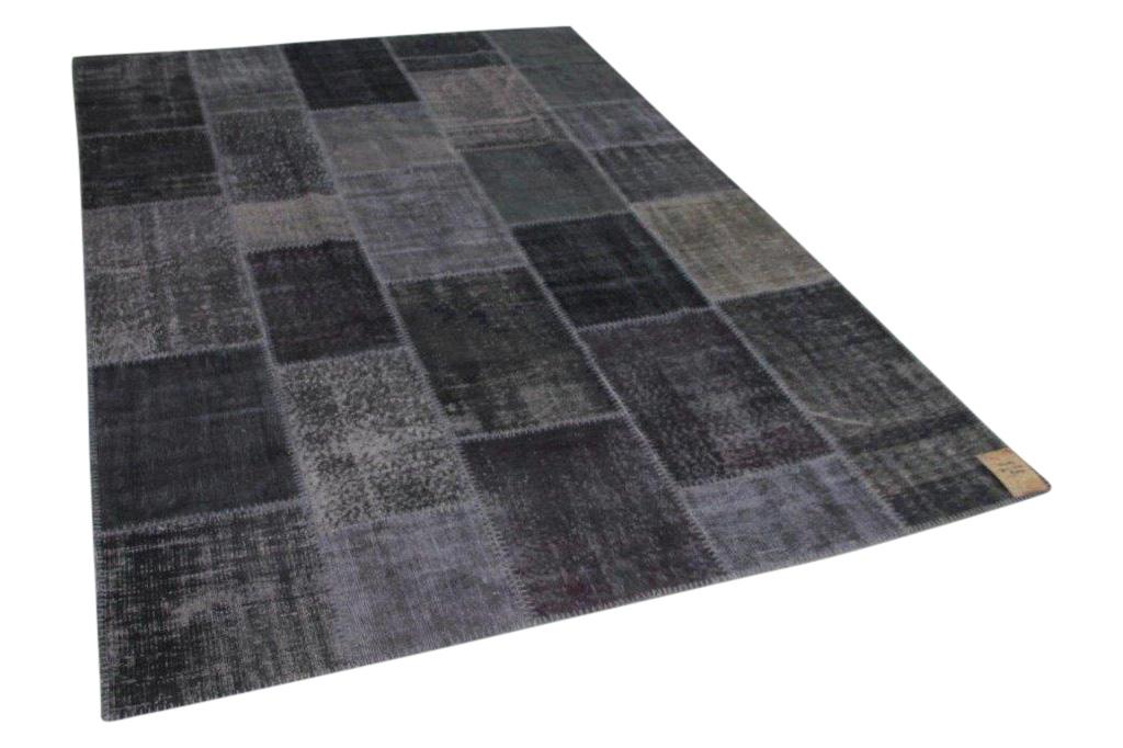 Patchwork vloerkleed grijs 301cm x 212cm